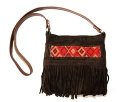 Festival Fringe Bag Zulu Beaded South African Beading And Upcycled Leather Crossbody Brown With Red Beads