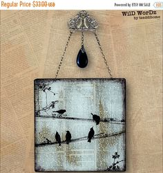 Birds on a Wire Handmade Glass Wall Decor from by tzaddihome