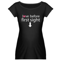 White Black And Pink Women Handmade T-Shirt Love At First Sight