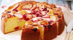 Raspberry apple yoghurt cake