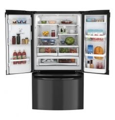 "GFE29HGDBB 36"" 28.6 cu. ft. Capacity French Door Refrigerator, External Ice/Water Dispenser, Dual Icemaker, TwinChill Evaporators, Energy Star Rated in Black"