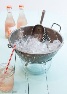 15 Summer Party Hacks That Change The Game | use a colander to serve ice. Place it over a bowel to keep the ice from being watery.