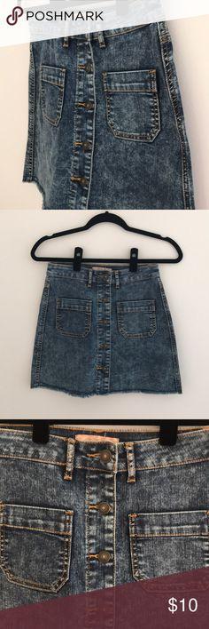 c7f8a7f34 Denim Mini Skirt Denim mini skirt Button front Fringed bottom Looks super  cute worn high waisted