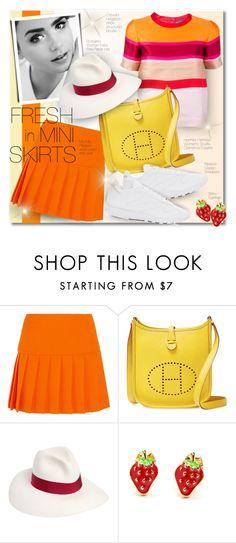 """Fresh Mini Skirt"" by petri5 ❤ liked on Polyvore featuring Miu Miu, Hermès, Borsalino and Reebok"