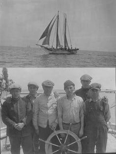 "Oystering in Delaware, April 1924.  Schooner ""B.H. Minch"", Oyster crew from the ""Doris"".  1380-006 #145 & 155.  Delaware Public Archives.  www.archives.delaware.gov"