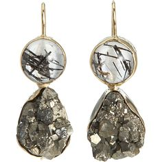 // Black Rutilated Quartz & Pyrite Earrings