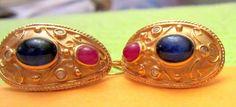 14K Gold Etruscan Revival Cabachon Sapphire Ruby Earrings Diamond Accents in Jewelry & Watches, Fine Jewelry, Fine Earrings, Gemstone | eBay