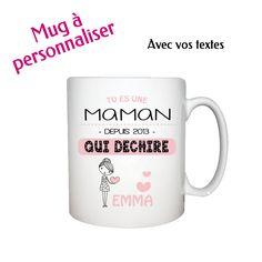 Un mug à personnaliser pour sa maman ou mamie ou marraine. Textes et dessin selon le sexe de l'enfant personnalisables - A partir de 20,90€