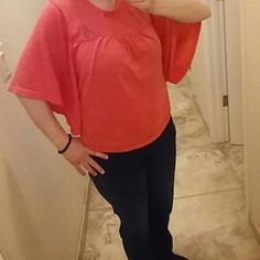 """🎀 HOST PICK 🎀 Back to Basics 🎀 Flowy Top Orange /Coral color. Knit with open knit pattern on the top front and back. Re-poshing... Great top, just wasn't as long as I like.  24"""" from shoulder to hem. This is a great fabric and light weight for spring/summer. In excellent condition. Tops Crop Tops"""