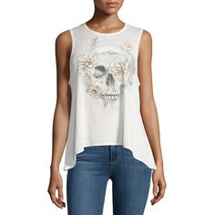 Chaser Bohemian Skull Graphic Tank ($27) ❤ liked on Polyvore featuring tops, salt, boho tank, bohemian style tops, chaser tops, crew neck pullover and bohemian tops