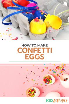 Learn how to make confetti eggs step by step. These popular eggs are traditionally used at Easter, birthdays, and New Years. Thought to bring luck and make wishes come true. Quick And Easy Crafts, Diy Arts And Crafts, Crafts To Make, Crafts For Kids, Holiday Activities For Kids, Games For Toddlers, Easter Activities, How To Make Confetti, Confetti Eggs