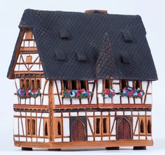 Ceramic handmade incense house miniature by Midene. Town hall in Schotten, Germany. R232