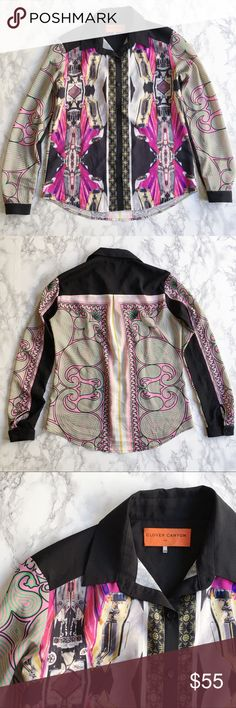 Clover Canyon pink car shirt Printed in bold pink cars and bright patterns, this silky top makes a loud and chic statement! Pre-loved in great condition. Clover Canyon Tops Button Down Shirts