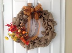 Thanksgiving Autumn burlap wreath.  18 inch with easy to remove decor and wreath.  Change the look as the seasons change.