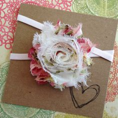White and Rose Vintage Shabby Flower Headband by HipAndHail, $3.50