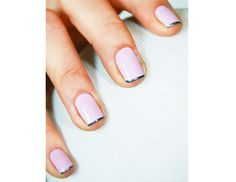 @Margaret Byrd Beauty - Glint of Metal    Toughen up your sweet pink manicure with a thin line of gunmetal.