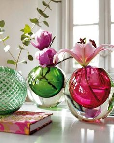 Colored Glass Ball Vases