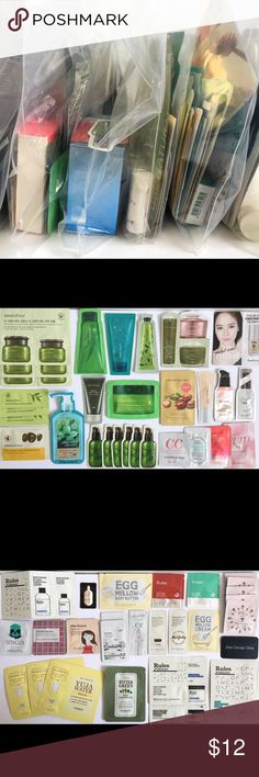 Korean Skincare & Makeup Samples - Bundles of 15+ Lot of 15+ Korean Skincare and Cosmetic Samples, includes: -One Deluxe Item -3 Full Size Face Masks -Assorted Samples   Brands Include: Holika Holika, Nature Republic, Too Cool for School, Innisfree, Missha, Skinfood, Etude House, Tony Moly, and more!  No guarantee you will get a specific item you see, but I will do my best to divide the bundles evenly with no repeats of individuals.  The pictures show the example of the kind of items you are…