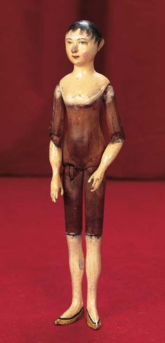 "View Catalog Item - Theriault's Antique Doll Auctions - late 18th ce carved wooden doll in a petite 12"" size"