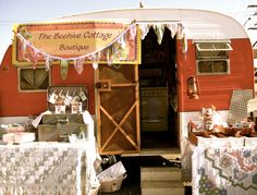 Vintage trailer as store and display prop -also overnight accommodations at distant craft fairs.
