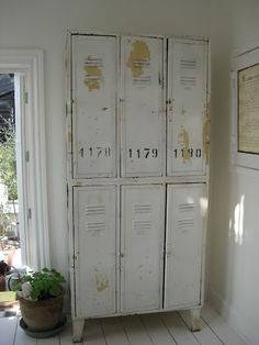 Locker Kitchen Whitewashed Cottage chippy shabby chic french country rustic swedish decor idea