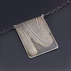 Three Feathers Necklace | imprinted sterling silver, handpainted patina by Lisa Hopkins Design