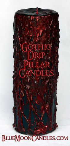 Victorian, Gothic Romance, Edwardian, Dark, Drip Pillar Candles...a passion of mine ;)  3x9 inch size shown.  $27.00 comes wrapped in our silk mojo bag and matte black gift box.