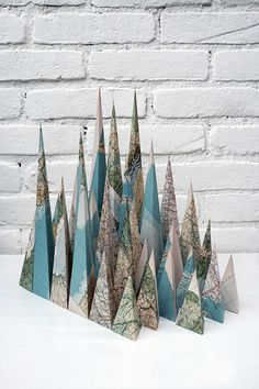 Maps folded into mountains by Louis Reith