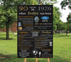 Personalized 90th Birthday Poster Printable, 1926 Chalkboard Poster, 1926 Events, Milestone Birthday - High Resolution Digital File by losunflower on Etsy https://www.etsy.com/listing/264919827/personalized-90th-birthday-poster