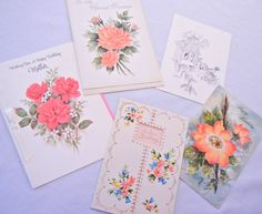 Floral Mother Birthday Card Set of 5 Red Peach by CandyAppleCrafts, $11.00