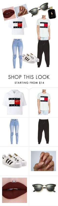 """""""nnew couple"""" by bhadxxienunyabuissness ❤ liked on Polyvore featuring Tommy Hilfiger, Balmain, adidas Originals, Ray-Ban and Polo Ralph Lauren"""