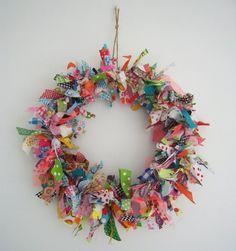 "ENTER THIS IN THE FAIR - Ribbon & Fabric Wreath - Enter in the Exhibit Titled ""CLOTHING-TEXTILES"" - Division 85 - http://eldoradocountyfair.org/pdf/13-fair/13-textiles.pdf"