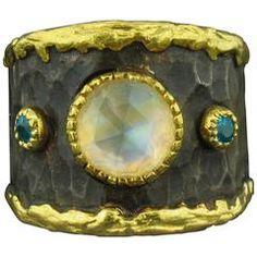 Victor Veylan Moonstone Apatite Gold Ring