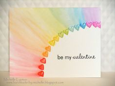 Handmade by Michelle: Clean and Simple Cardmaking 2 - Day 2 Hearts rainbow using watercolor pencils
