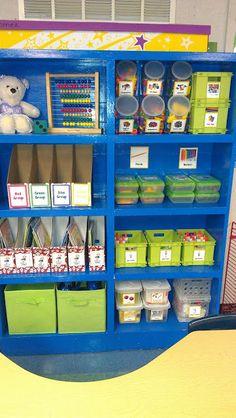 Kindergarten Schmindergarten...great photos of organization for the classroom!