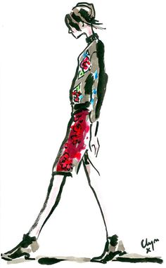 Clym Evernden, an award winning illustrator and designer produced these beautiful illustrations from the Clements Ribeiro AW13 runway show for London Fashion Week, fashion illustration