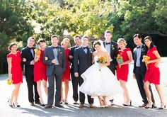ruby red and navy wedding party wardrobe // Photography: Acqua Photo / Bride's… White And Gold Wedding Cake, Blue Suit Wedding, Wedding Pics, Blue Wedding, Wedding Bride, Wedding Colors, Wedding Styles, Wedding Ideas, Wedding Things