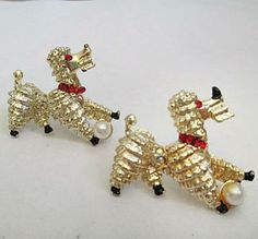 50s Vintage Dog Scatter Pins Tiny Poodles Pair with Pearl and Red Jewels Retro Fifties by BettesBargainsVintageShop for $35.00