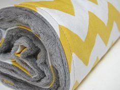 Yellow Chevron Baby Blanket with Grey Minky by ButterBrickleBaby, $32.00