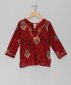 Red Volcanic Rock Tunic - Girls by Raj Imports