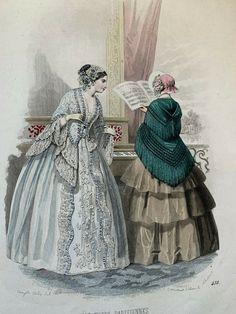 Victorian Era, Victorian Fashion, 1850s Fashion, 19th Century Fashion, Historical Clothing, Fashion Plates, Fashion History, Hand Coloring, Fashion Prints