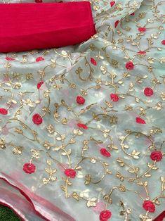 Pure organza saree with beautiful Gotta work/ saree for women/ indian saree/ designer saree/ wedding saree/ sarees/ saree blouse/ sari Raw Silk Saree, Pure Silk Sarees, Designer Sarees Wedding, Saree Wedding, Handloom Saree, Salwar Kameez, Rajasthani Dress, Orange Saree, Red Saree