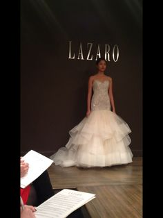 Lazaro bridal gown, wedding gown, trumpet, tulle, beaded bodice, strapless