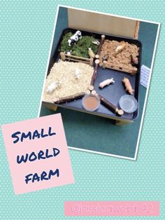 Shreddies, grass, oats and chocolate powder. Toddler Sensory Bins, Sensory Tubs, Toddler Learning Activities, Home Learning, Small World Play, Tiny World, World Farm, School Farm, Reception Class