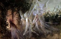 """The Fairy Faith: An Ancient Indigenous Religion """"Fairies Looking Through A Gothic Arch"""" by John Anster Fitzgerald century Fairy Land, Fairy Tales, Fairy Dust, Fairy Paintings, Kobold, Summer Solstice, Fairy Houses, Faeries, Folklore"""