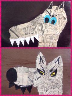 Kid Friendly Art, Wolf Craft, Wolf Kids, Red Riding Hood Wolf, Fairy Tale Crafts, 3rd Grade Art, Easy Art Projects, Three Little Pigs, Klimt