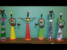 Resultado de imagem para dolls from bottle gourd Paper Bag Crafts, Newspaper Crafts, Fabric Crafts, Newspaper Paper, Paper Beads Tutorial, African Dolls, Diy Crafts How To Make, African Crafts, Paper Weaving
