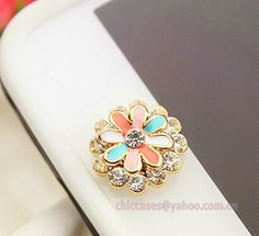Bling daisy home button sticker -- phone charm