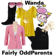 Wanda - The Fairly OddParents by lilyelizajane on Polyvore featuring Nudie Jeans Co., Aquatalia by Marvin K., Alex Woo, Ted Baker, nicktoons, 90s, nickelodeon, fairly oddparents, cartoons and wanda