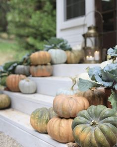 Love the use of fall garden produce! Inspired and romantic living, entertaining, traveling and decorating in a French Country Cottage in the California countryside. Brass Lantern, Pumpkin Leaves, Wreaths And Garlands, French Country Cottage, Cottage Farmhouse, Cottage Style, Pumpkin Decorating, Fall Decorating, White Pumpkins